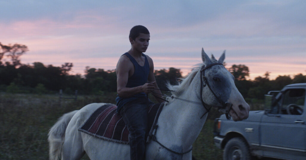 A screen grab of the protagonist from the film Songs My Brother Taught Me
